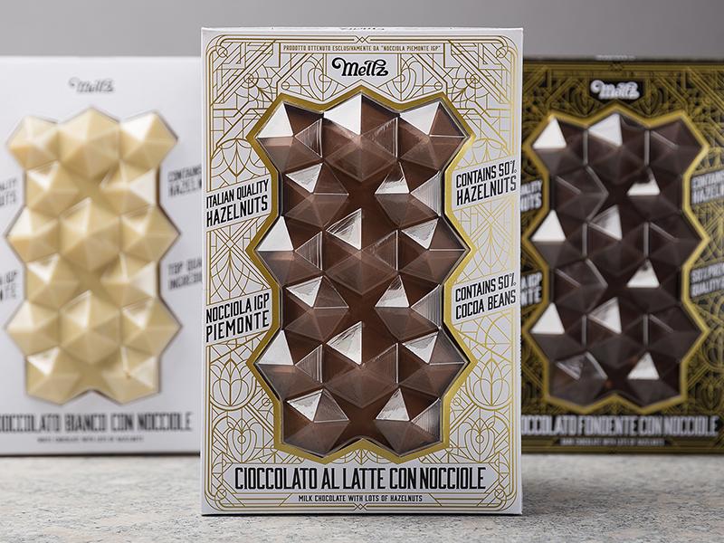 Meltz Chocolates typography packaging-design packaging hotstamping hazelnuts hazelnut foxtrot chocolates chocolate-design chocolate