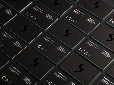 ICAR Business Card typography silver print poland painting logo identity hotstamping holographic foxtrotstudio foxtrot foil edge design card businesscard business branding black