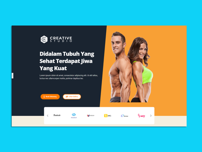Gym website branding web ux ui design landing page design