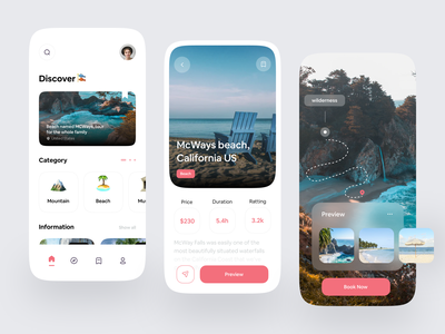 Travel app exploration 🎏 designs mountain modern button beach cards travelling traveling travel app travel clean ui card ui design design mobile ui mobile design mobile app design mobile app mobile