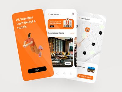AR Hotel Finder Exploration 🏨 card ux app principle ar app orange hotel map interactive clean mobile ui interaction design interaction animated animation mobile app mobile ui design mobile design ui