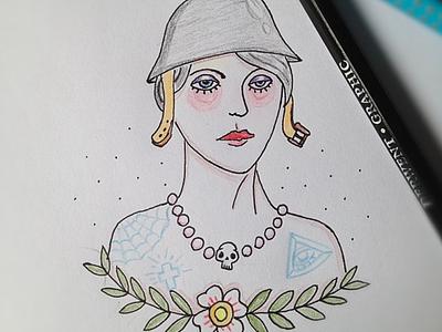 Warwoman tattoo war flowers skull drawing