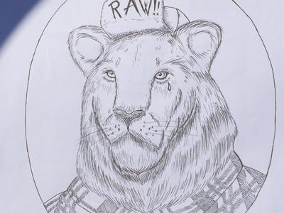 Streetlion wip lion ink drawing la penpaper
