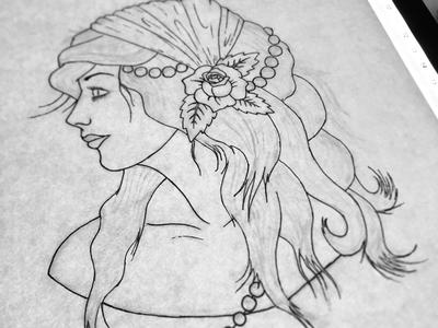 Wipwoman wip drawing ink sketch