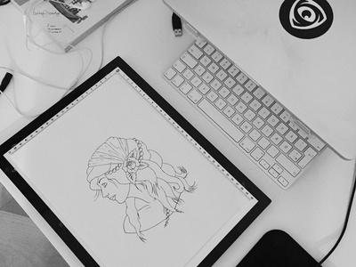 minisun woman desk homeoffice ink drawing workplace desk