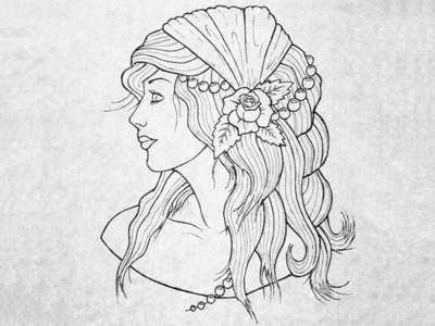 Gypsy Woman woman drawing ink sketch