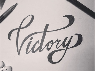 Victory drawing victory brush lettering brush lettering