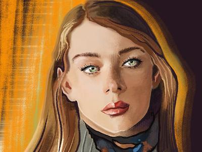 """Стилизованный портрет """"Золотистое пламя"""" постер illustration digital портрет стилизация"""