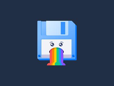 Disk Puke sticker rainbow puke disk icon illustrator illustration