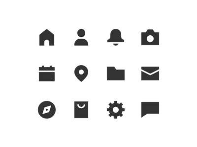 edgy set email folder calendar camera bell house solid filled edgy icon set iconset icons iconography