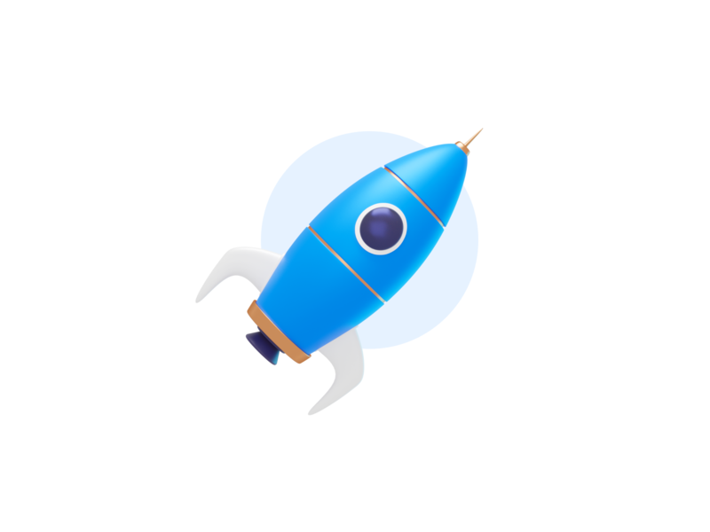 Rocket illustration emptystate spot rocket blender 3d iconography icon illustration