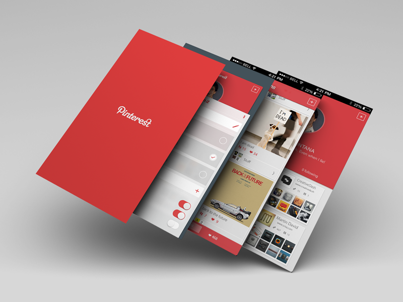 Pinterest 4 Screens ui app pinterest pin glyph action slider sharing share redesign ios7