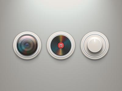 Circle Iconset icons set circle knob camera vinyl turntable lens button white