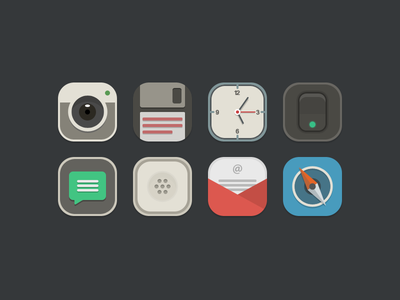 New Iconset icon iconset semiflat theme jailbreak ios iphone camera clock settings safari phone