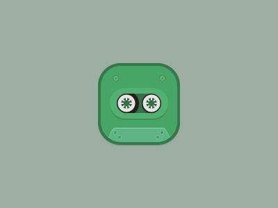 noble - Cassette Icon icon noble theme icons cassette audio winterboard flat green