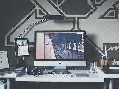a Workspace workspace workplace office home desk desktop imac