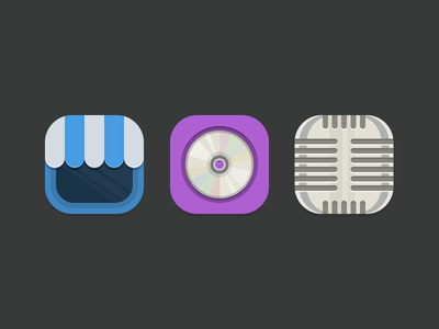 Icons icon icons theme iphone ios jailbreak winterboard shop disc microphone flat