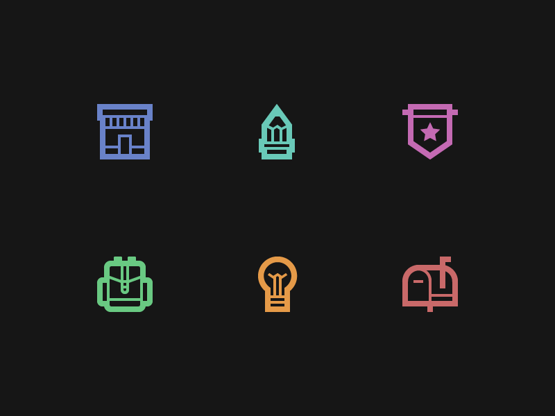 icons icon icons ios iphone glyph illustration iconography pencil house backpack bulb mailbox