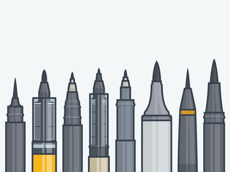 Brush Pens pens brush pens brush logo mark illustration iconography icons icon