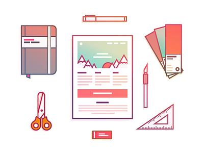 Create Illustration pen scalpel pantone notebook scissors email gradient vector icons iconography icon illustration