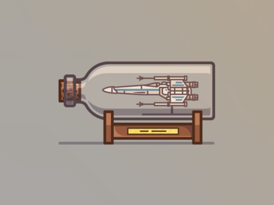 x-wing in a bottle starwars star wars x-wing xwing outline flat vector icons iconography icon illustration