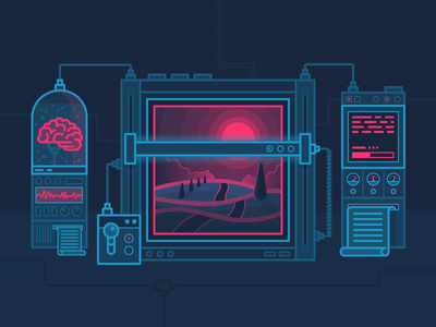 Robot Vs Human scanner brain machinery landscape scenery outline vector icons iconography icon illustration