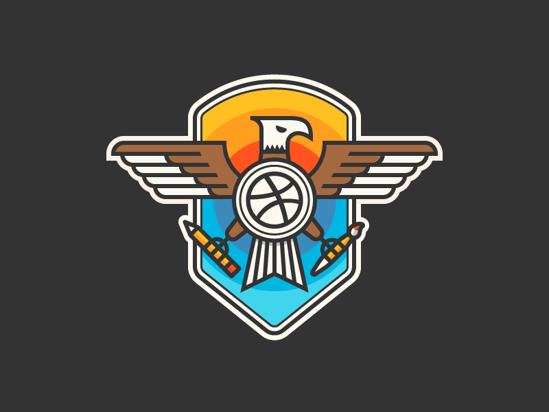 Fly Like An Eagle Yep eagle shield badge outline vector icons iconography icon illustration