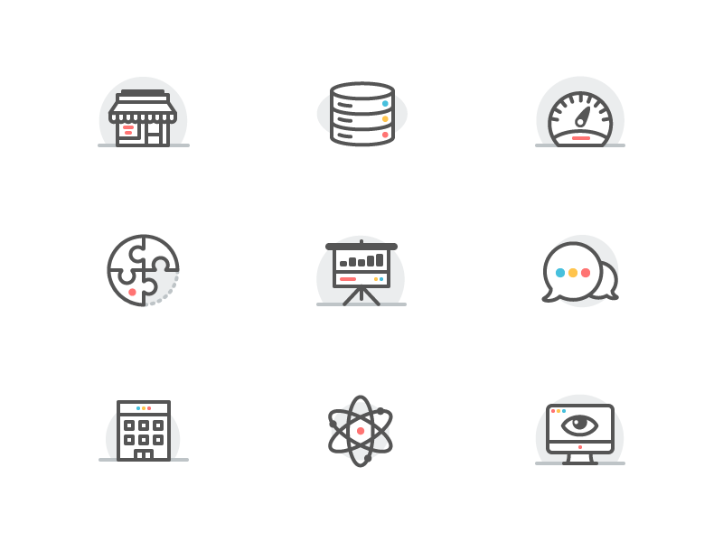 Icons imac atom messages puzzle dashboard server shop outline icons iconography icon illustration