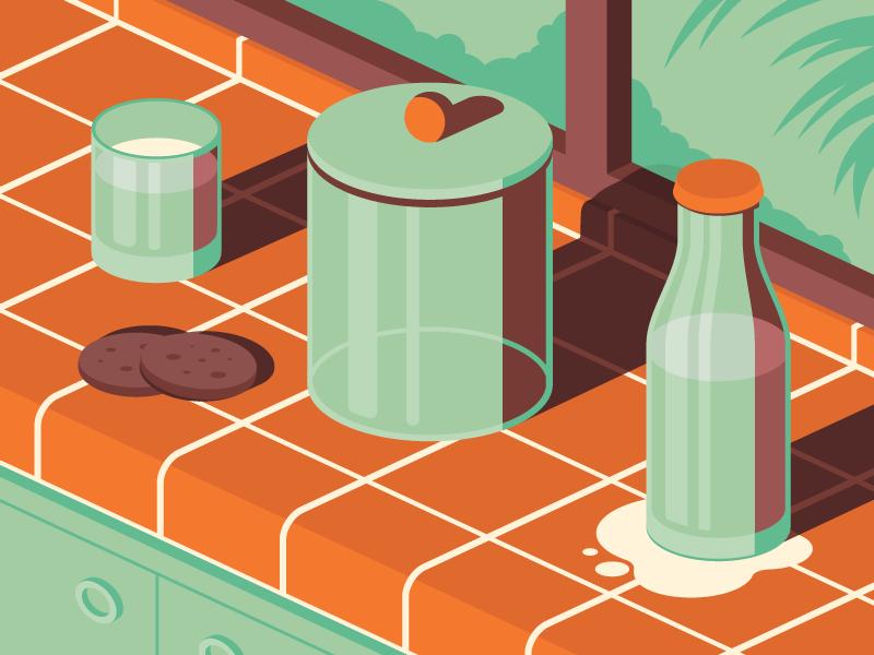 no more cookies bottle glass milk cookies isometric iconography icon illustrator illustration