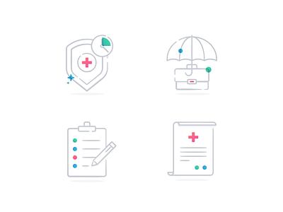 Sign Up Icons document clipboard umbrella shield iconography illustration iconset icons