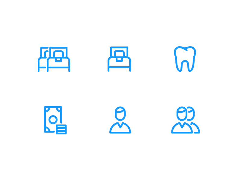 Tariff Icons profile money tooth bed iconography illustration icon icons
