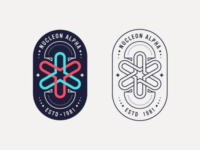 Nucleon Alpha atom nuclear mark logo badge iconography illustration icon icons