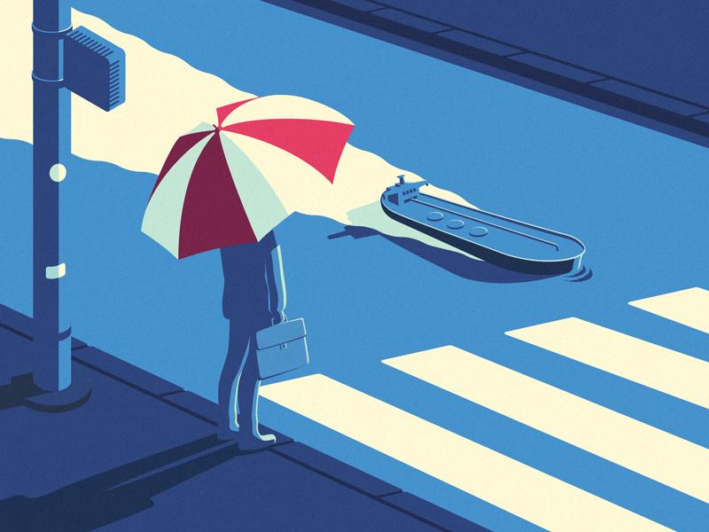 cruising... umbrella man street tanker editorial illustration