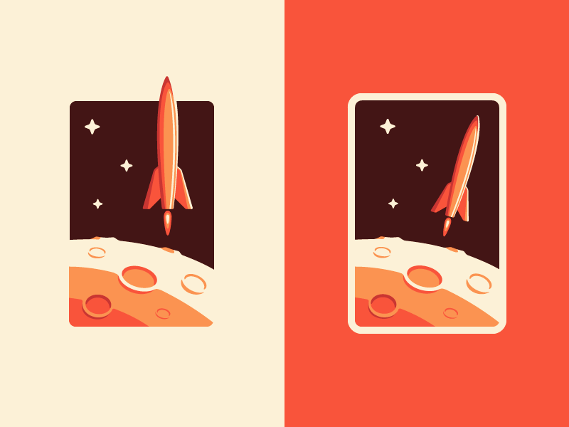 Space Badge crater planet moon rocket badge icon illustration