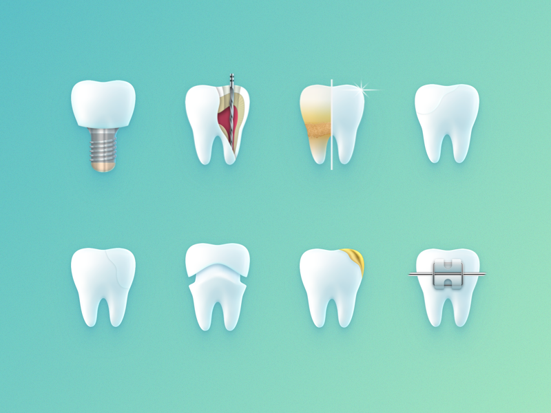 teeth iconset skeuomorphic teeth tooth iconography icon illustration