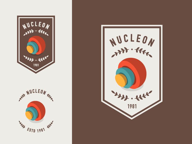 Nucleon Badge logo ornament sphere core badge icon illustration