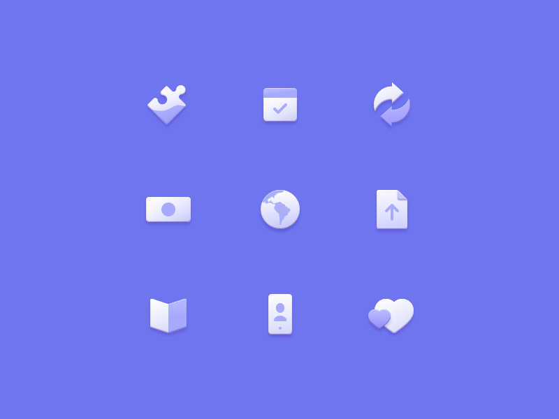 Skeumins skeuomorphic a-bit-of-skeuomorphism skeumin iconography illustration icon icons
