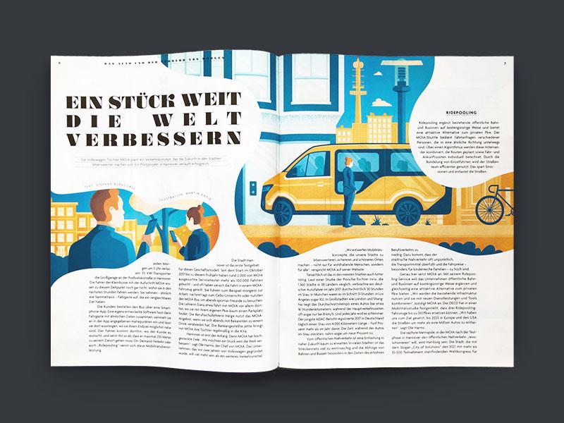 Autostadt Journal city people car magazin editorial illustration