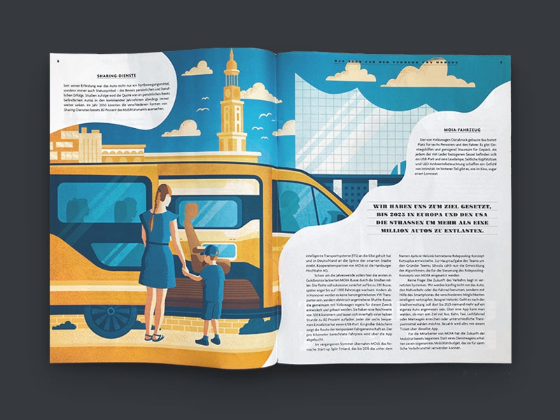 Autostadt Journal B hamburg city car editorial illustration