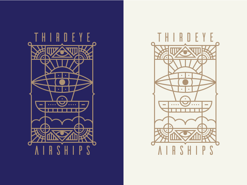 Thirdeye Airships Badge art deco ship airship mark logo badge iconography illustration icon icons