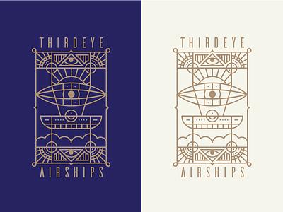 Thirdeye Airships Badge art deco ship airship mark logo badge iconography illustration icon icons