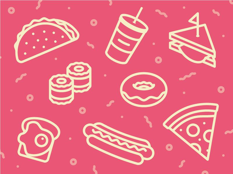 Food Pattern toast hot dog pizza donut sushi taco sandwich pattern food iconography illustration icons