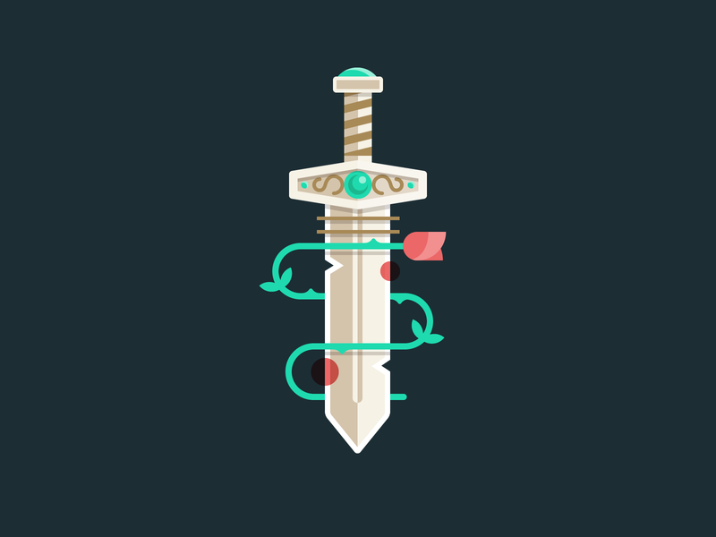 #vectober - 4 - Sword flower rose sword vectober vector iconography icon illustration