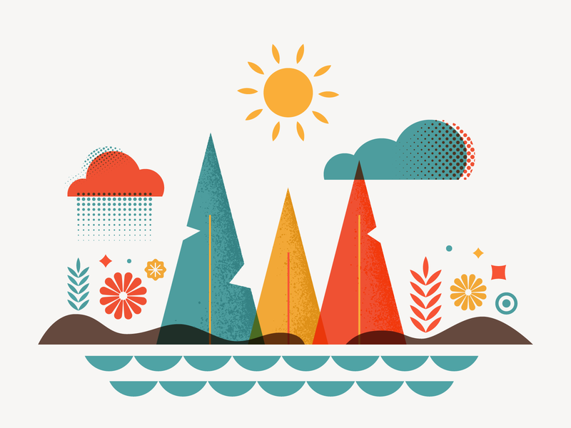 #vectober - 5 - Forest cloud flower lake sea forest plant wood vectober vector iconography icon illustration