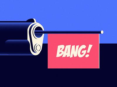 #vectober - 6 - PowBang gun pistol bang shadow vector icons iconography icon illustration