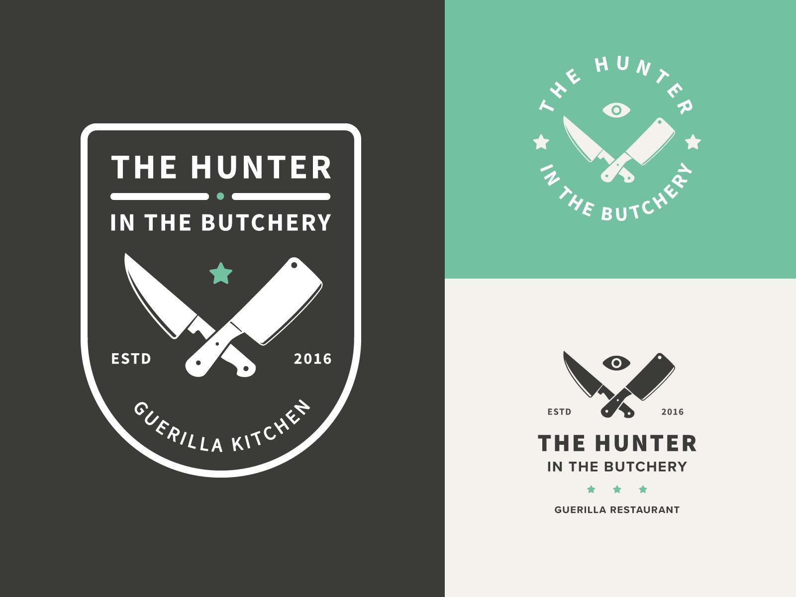The Hunter Badge Variations knife restaurant cook icon illustration badge mark logo
