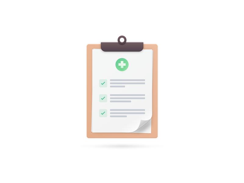 Klinik Checklist list clipboard checklist typography iconography icon illustration