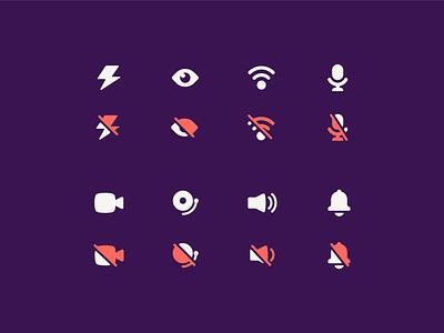 airtime iconography 2019 - on/off notification camera microphone signal flash toggle on off symbol mark illustraion iconset icon set icons iconography