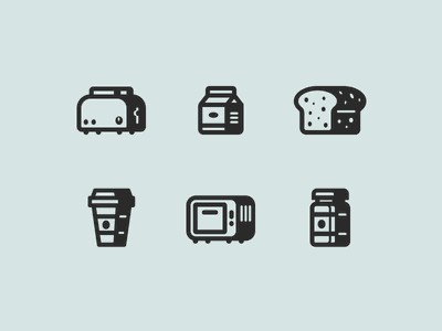 52iconsets shadow milk coffee bread oven toaster breakfast shadow iconpack icons pack icon set iconset icon icons inktober52 52iconsets