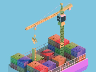 Cargo Ship with Containers and Crane isometric sketch simple design